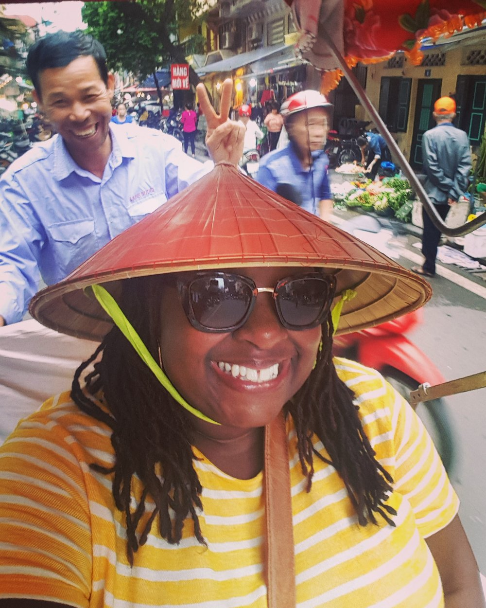 On a Cyclo Tour…. which is really a bit of a death wish in Hanoi!