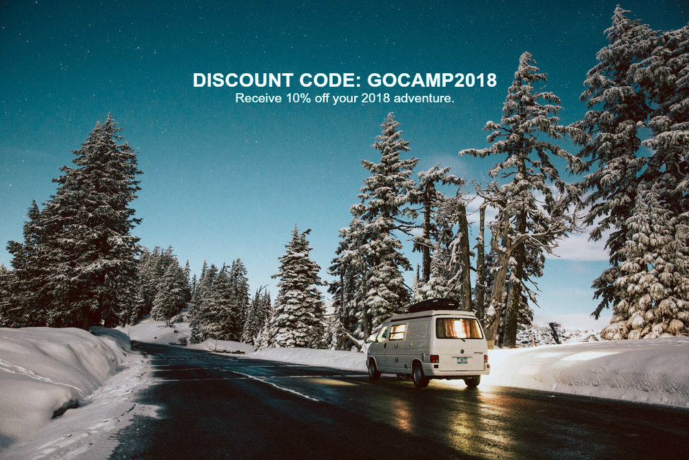 Book a GoCamp camper van for 2018 and receive a 10% discount off the base rental rate.