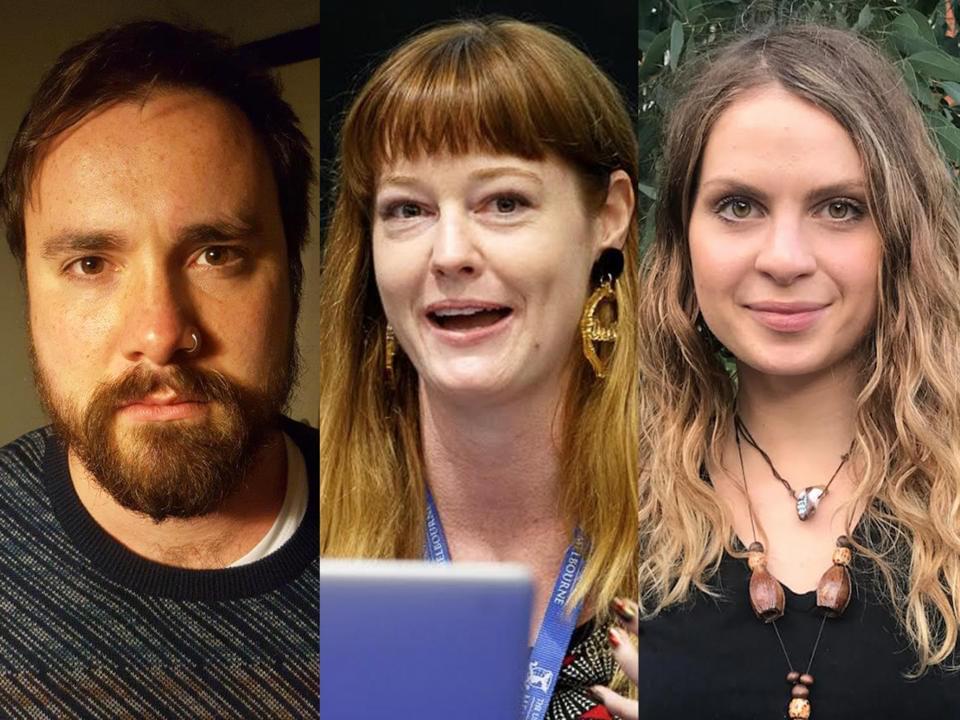 L to R: First Nation poets - Ryan Prehn, Emily Munro-Harrison, Monica Karo