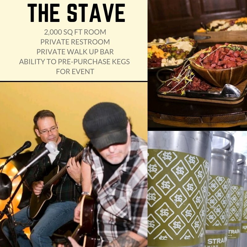 The Stave Room atKros Strain Brewing - Features:Private Bartender(s)Private Restroom2,000 sq ft roomAbility to bring in your own food, cater food in or arrange a food truckPrivate Coat RackUse of Corn hole, Chippo Golf, Giant Jenga, Giant Yahtzee games in roomUse of Oktoberfest style tables and bar height tables for drinksWalkout patio with (2) TWO fire pits!Room handicap accessibleLarge parking lot accessible for buses, limos or multiple vehiclesUnfortunately due to the increased capacity in this room separate checks and flights are not allowed to be fulfilled booking this room.Please click below for pricing for kegs, drink tickets or one tab option.