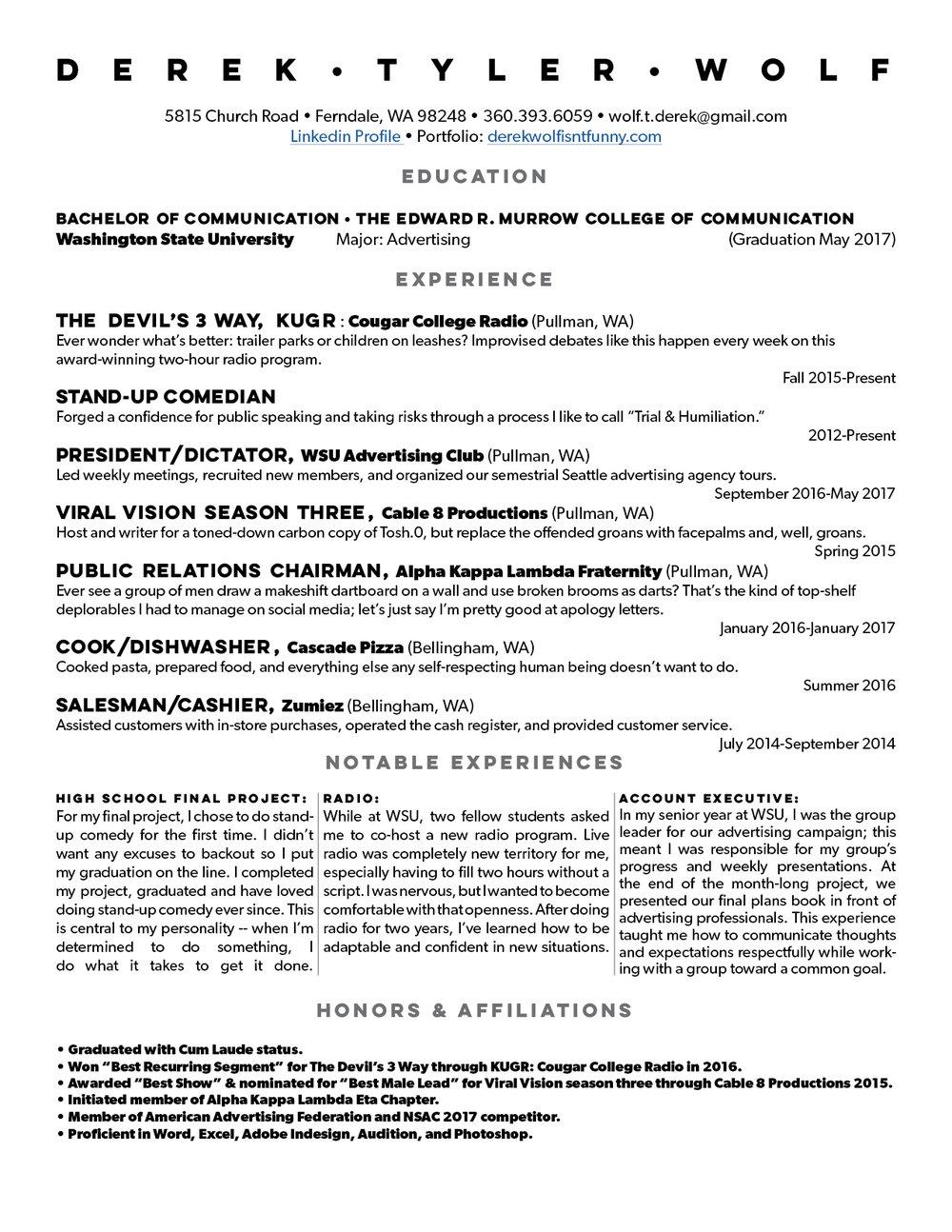 funny resume resume derek wolf 17