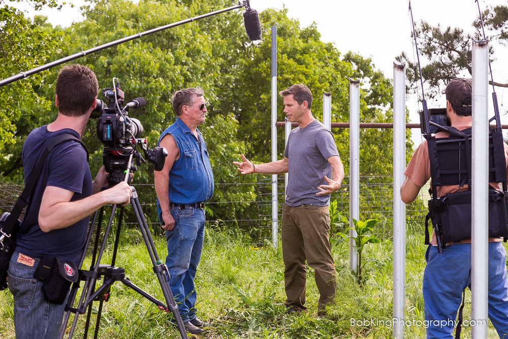 Filming at a Buffalo ranch in Arkansas for Carbon TV's 'Tough Jobs'