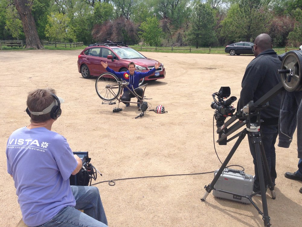 Filming a Subaru commerical, of course I snuck my bike in
