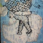Man with Pineapple, 2013, charcoal on atlas page, 35 x 27 cm, $550