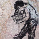 Man with Small House, 2013, charcoal on atlas page, 35 x 27 cm, $550