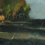 'Afternoon Shadows', oil on canvas, 31 x 122cm, $2,000