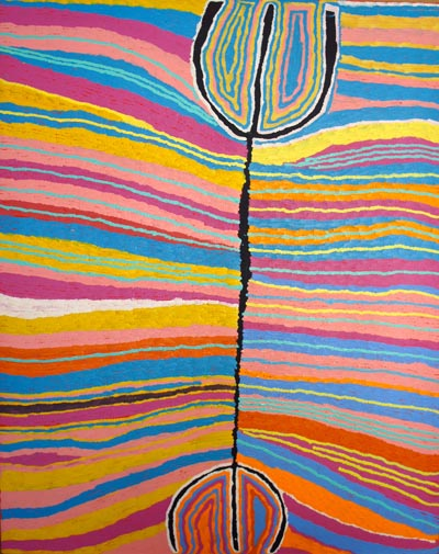 Judy Watson Napangardi (born circa 1925), Mina Mina Jukurrpa (Women's Dreaming), 2004, synthetic polymer paint on canvas, 152 x 122 cm, $12,000