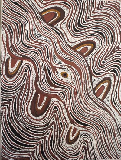 Lloyd Kwilla (born 1980), Bushfire series – Kulyayi Waterhole in the Great Sandy Desert, 2006, natural earth pigments on canvas, 90 x 120 cm, $5,000