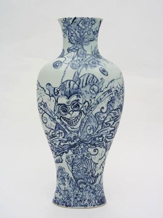 Shin Koyama, Onward, hand painted ceramic, 65 x 35 cm