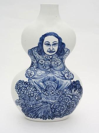 Shin Koyama, Market Lady, hand painted ceramic, 45 x 25 cm