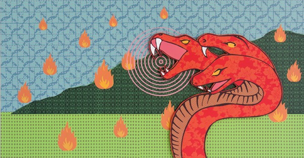 Samuel Tupou, Fire Snake (2012), silkscreen on high density PVC, 80 x 120 cm