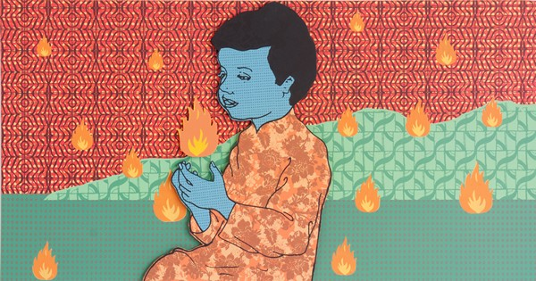 Samuel Tupou, Fire Child (2012), silkscreen on high density PVC, 80 x 120 cm
