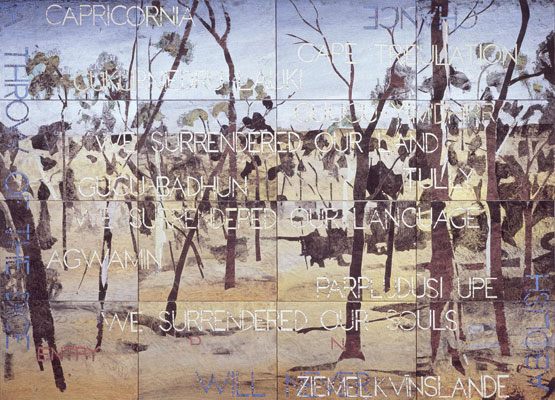 Imants Tillers, Nature Speaks DN (2011), acrylic, gouache on 16 canvas boards, 101 x 142 cm