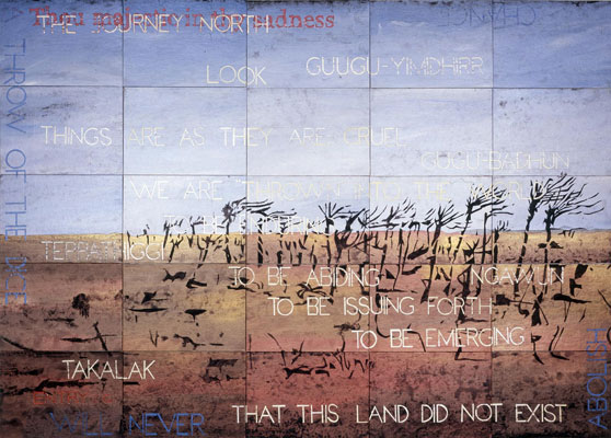 Imants Tillers, Thou Majestic G (2011), acrylic, gouache on 25 canvas boards, 127 x 177 cm
