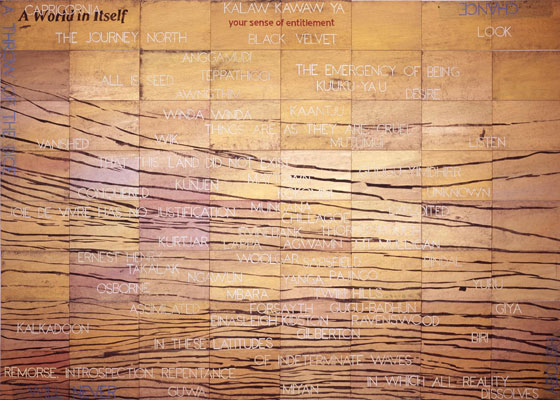 Imants Tillers, Capricornia (2011), acrylic, gouache on 64 canvas boards, 203 x 284 cm