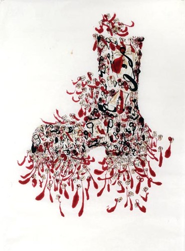 Dadang Christanto, Boot Head (2001), Chinese ink and coffee on Japanese paper, 144 x 82cm