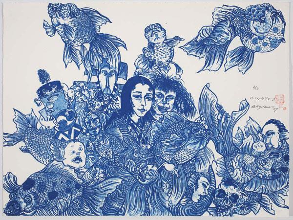 Shin Koyama, Kingyo (blue), Lithograph, 74 x 93.5 cm, $2,000