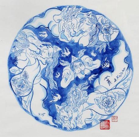 Shin Koyama, SK108, Blue ink on Chinese paper, 50 x 50 cm framed, $900
