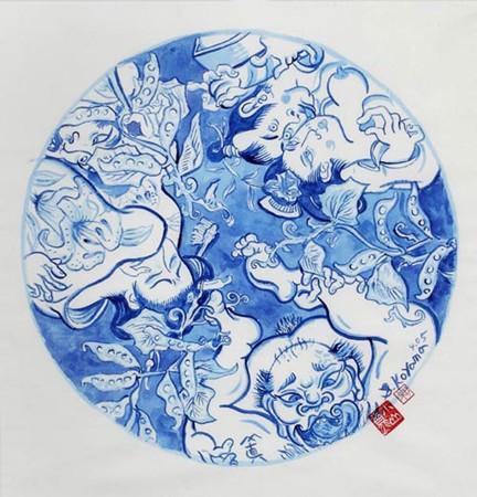 Shin Koyama, SK104, Blue ink on Chinese paper, 50 x 50 cm framed, $900