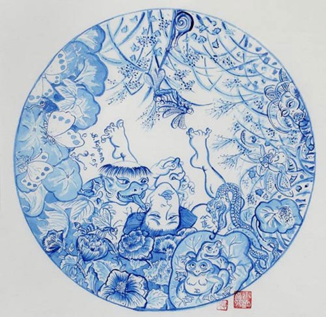 Shin Koyama, SK103, Blue ink on Chinese paper, 50 x 50 cm framed, $900
