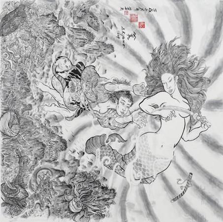 Shin Koyama, Mermaid, Chinese ink on paper, 93 x 97cm, $2,000