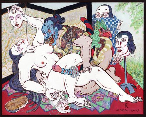 Shin Koyama, Mask Woman II, oil on canvas, 145 x 170 cm, $8,500