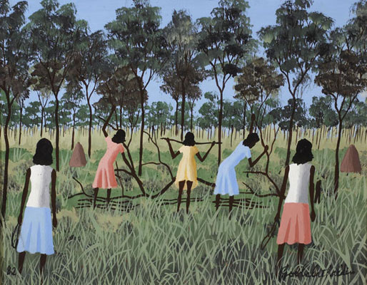 Dick Roughsey, Women Gathering Wood (1982), oil on masonite panel, 30 x 36cm, framed