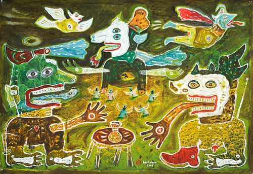 Heri Dono, Harvest the Land I (2005), acrylic on traditional painting, 63.5 x 93cm