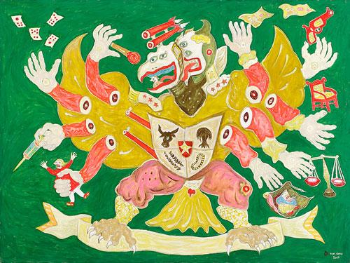 Heri Dono, Garuda Extra Territrial (2007), acrylic on Belgium linen, 150 x 200cm