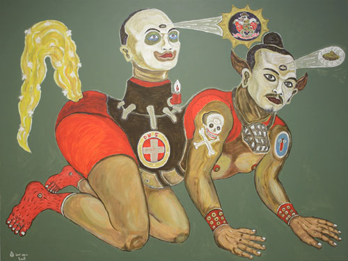 Heri Dono, Artist as an Installation (2008), acrylic on Belgium linen, 150 x 200cm