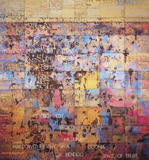 Imants Tillers, Outback: O (2008), acrylic and gouache on 105 canvas boards, 230 x 214cm