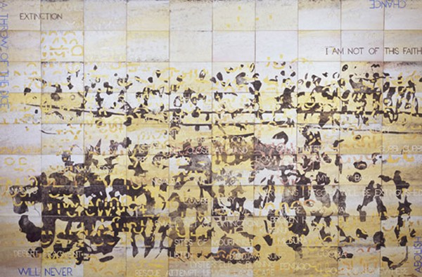 Imants Tillers, Extinction (2009), acrylic and gouache on 90 canvas boards 230 x 356cm