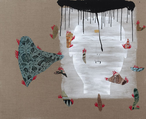 Dadang Christanto, Batik Has Been Burnt #6 (2007), acrylic on Belgium linen, 137 x 167cm