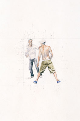 Stephen Hart, Young Men (2006), Pencil and watercolour, 51 x 33.5cm framed