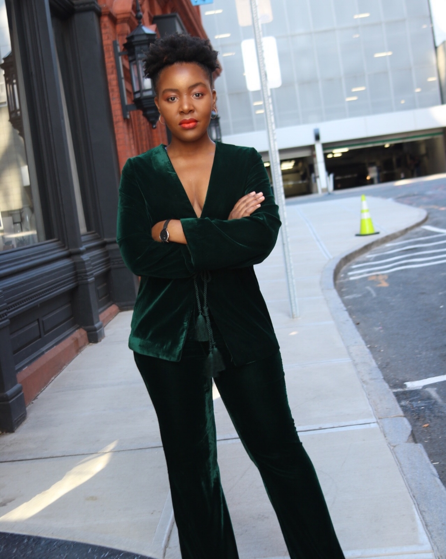 Nonee in a Green Velour Suit
