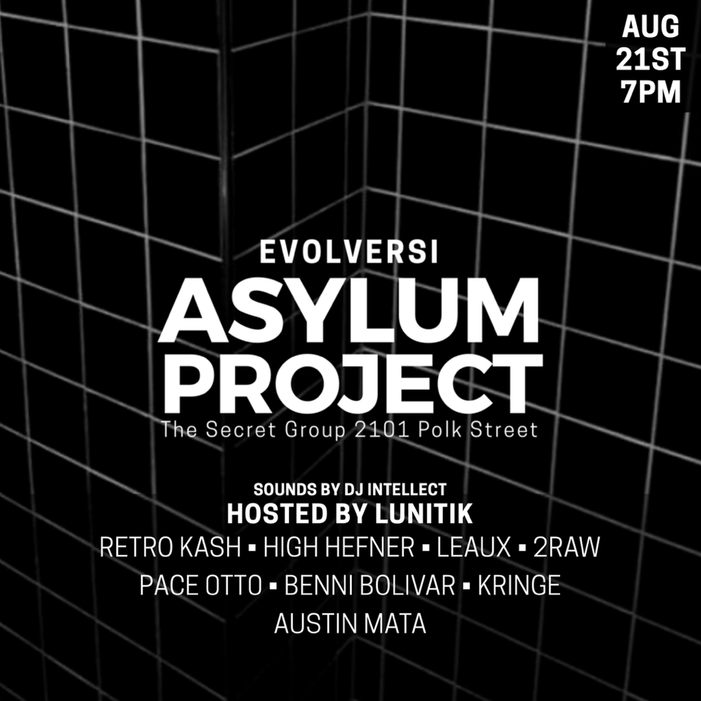 A great live show with an even greater line up.  Performances by Retro Kash, High Hefner, Leaux, 2Raw, Pace Otto, Benni Bolivar, Kringe and Austin Mata  Hosted By Lunitik with Sounds by DJ Intellect  Date and Time:  Monday August 21, 2017  Starts at 7pm  Location: The Secret Group  2101 Polk st Houston, 77003
