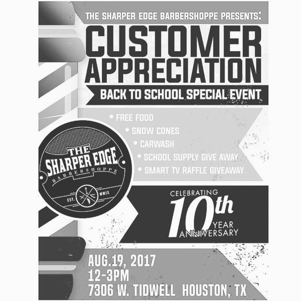 The Sharper Edge Barbershoppe celebrates its 10 year anniversary by throwing a back to school event. Come out and celebrate!  Date and Time:  Saturday August 19, 2017   12 noon - 3 pm  Location:  7306 W. Tidwell