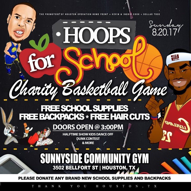 Free school supplies, free backpacks and free haircuts! please bring BRAND NEW school supplies and backpacks to donate.  Date and Time:  Sunday August 20th   Doors open at 3:00pm  Location:  Sunnyside Community Gym  3502 Bellfort st, Houston, TX
