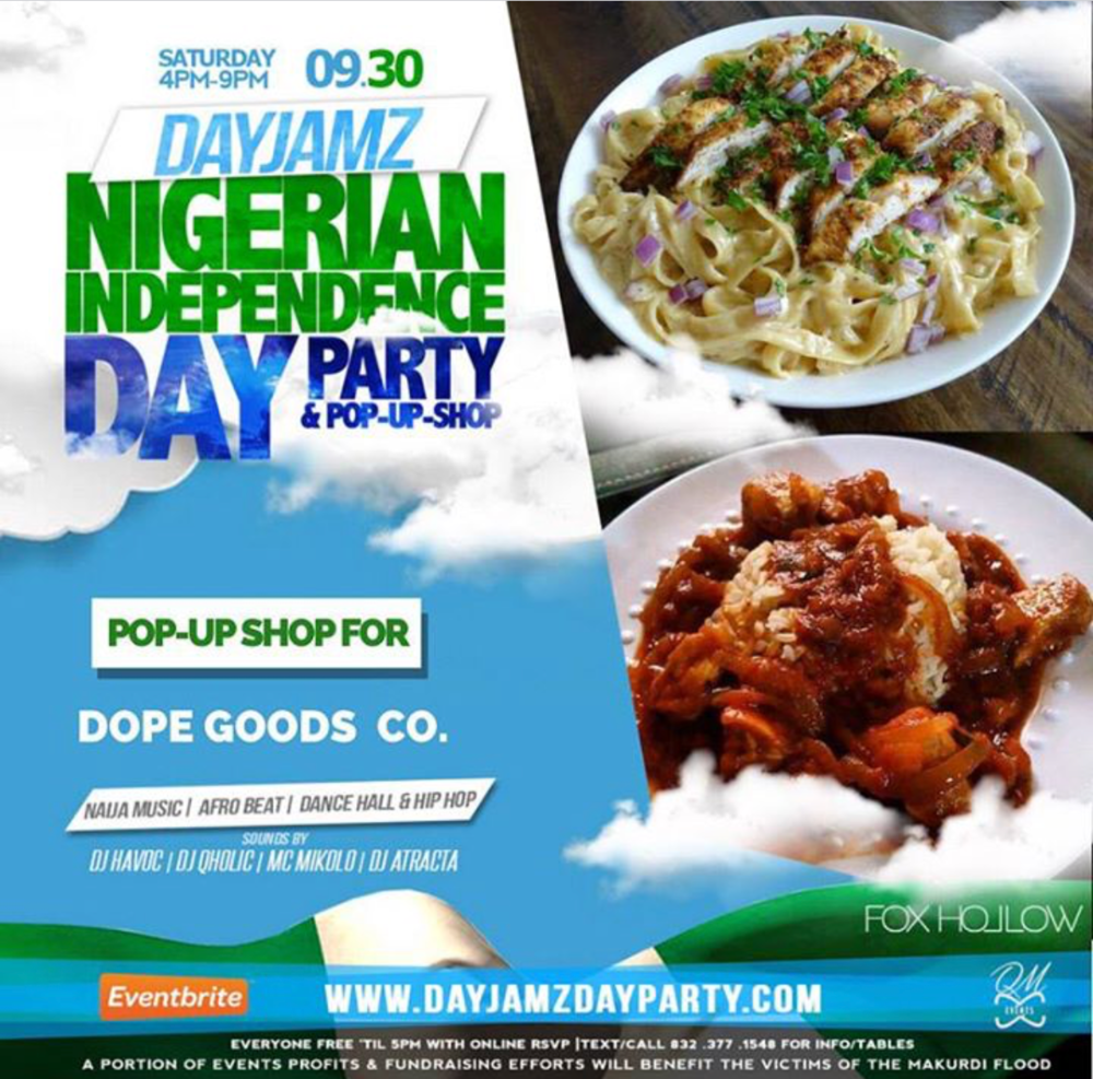 Come along to experience DayJamz Nigerian Independence Day Party & Pop-up-Shop to celebrate 57 years of Nigeria's independence. This event will bring you all of the popular afro beats you've grown to love and enjoy. Come and savor some of the tastiest Nigerian delights. This nostalgic event is one not to miss. DayJamz will be held at Fox Hollow bar and lounge, 4617 Nett St, Houston, Tx. The venue's spacious dance floor makes it the quintessential space for an engaging day party. If music and dance is what you enjoy, this is the event for you. Please purchase your tickets or table as soon as possible to ensure your attendance. You must be 18 years of age or older. Tickets are nonrefundable. For more info, contact (832) 377-1548, email qmevents@yahoo.com.