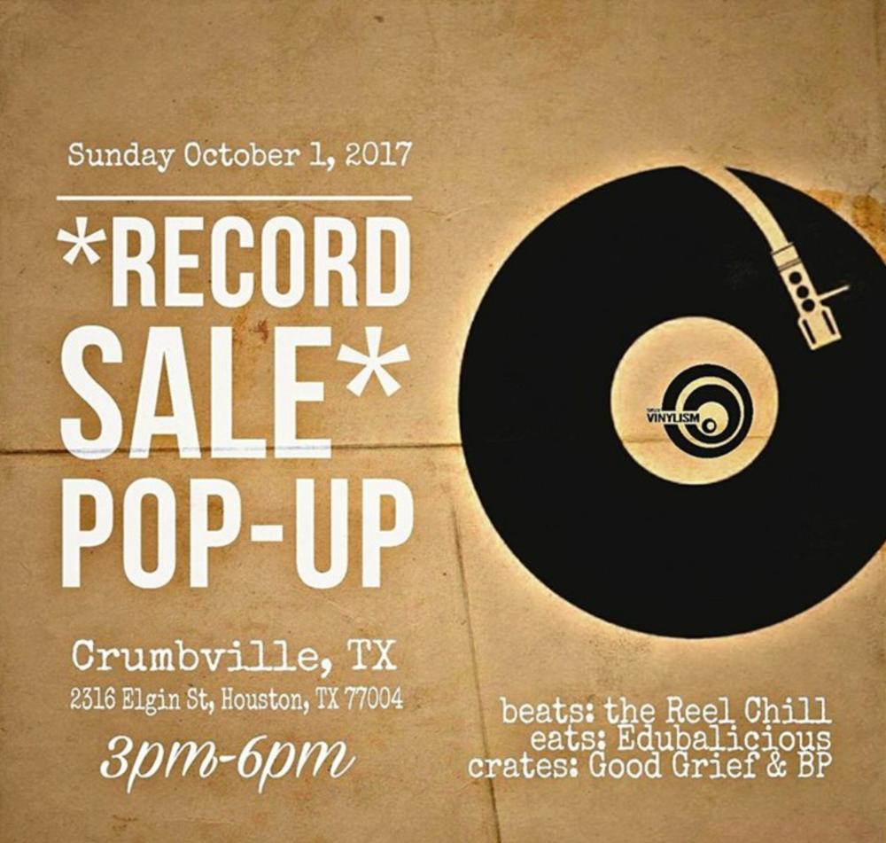 Sunday Oct 1, 2017. Record Sale at Crumbville, TX 3pm-6pm.  2316 Elgin    Beats: @thereelchill  Eats: @edubalicioustreats  Crates: @djgoodgrief & @bpfallinup    All ages    #vinyl #templeofvinylism