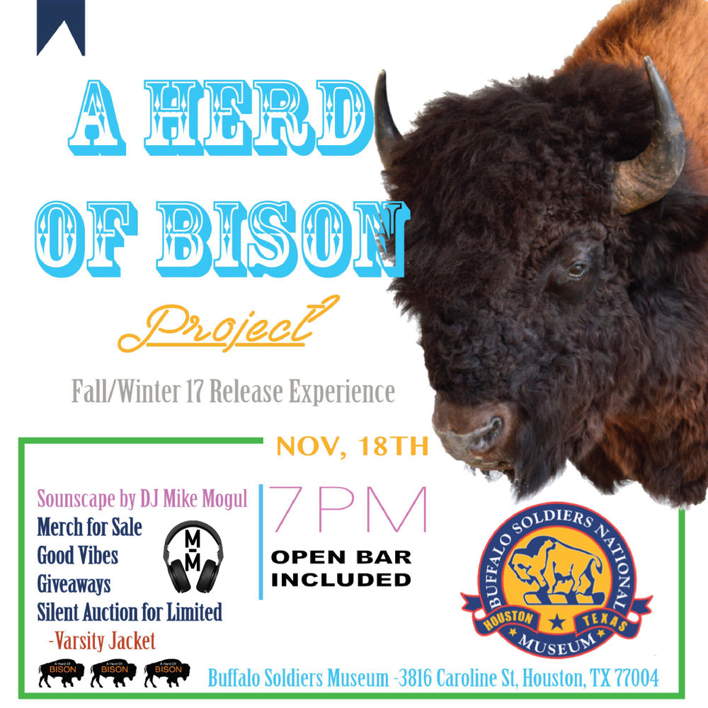 A Herd Of Bison Fashion event   Sounds by DJ Mike Mogul  :Open Bar:  There will be giveaways and  a silent auction for a limited varsity jacket