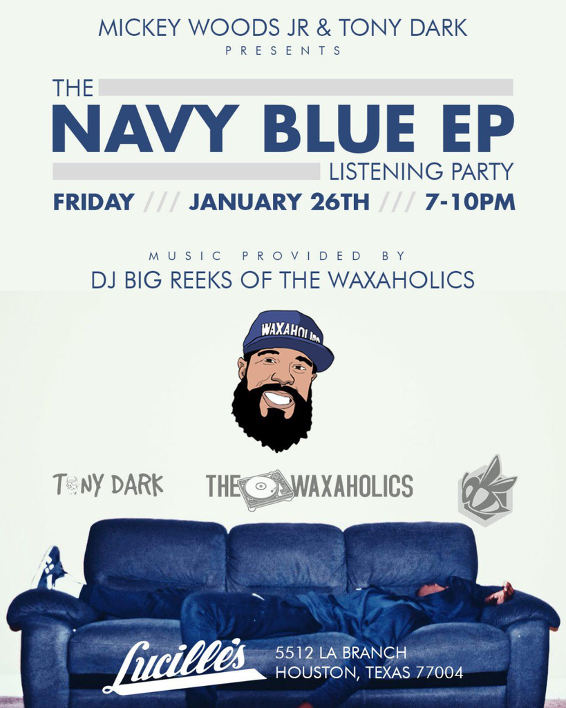 It's almost that time! the Navy Blue EP drops TOMORROW! Make sure y'all come out to the listening party hosted by @TonyDarkMusic and @MickeyWoodsJr.  They have the the legendary @djbigreeks providing all the music!