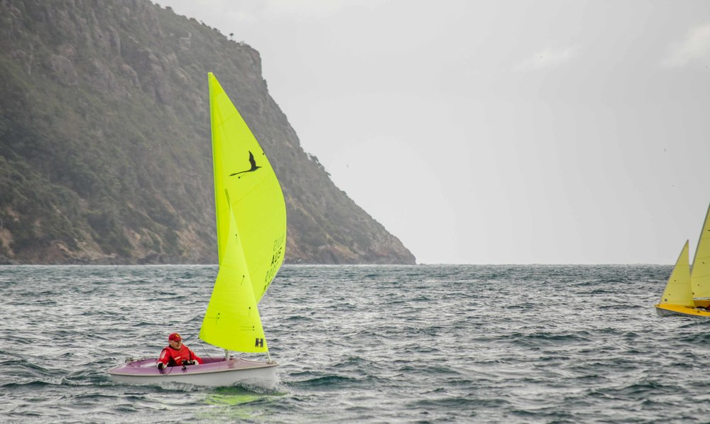 Rod Viney racing one of Sailability's Hansa 303 dinghies in the 2018 Tasmanian Hansa Class Championships held in Wynyard.