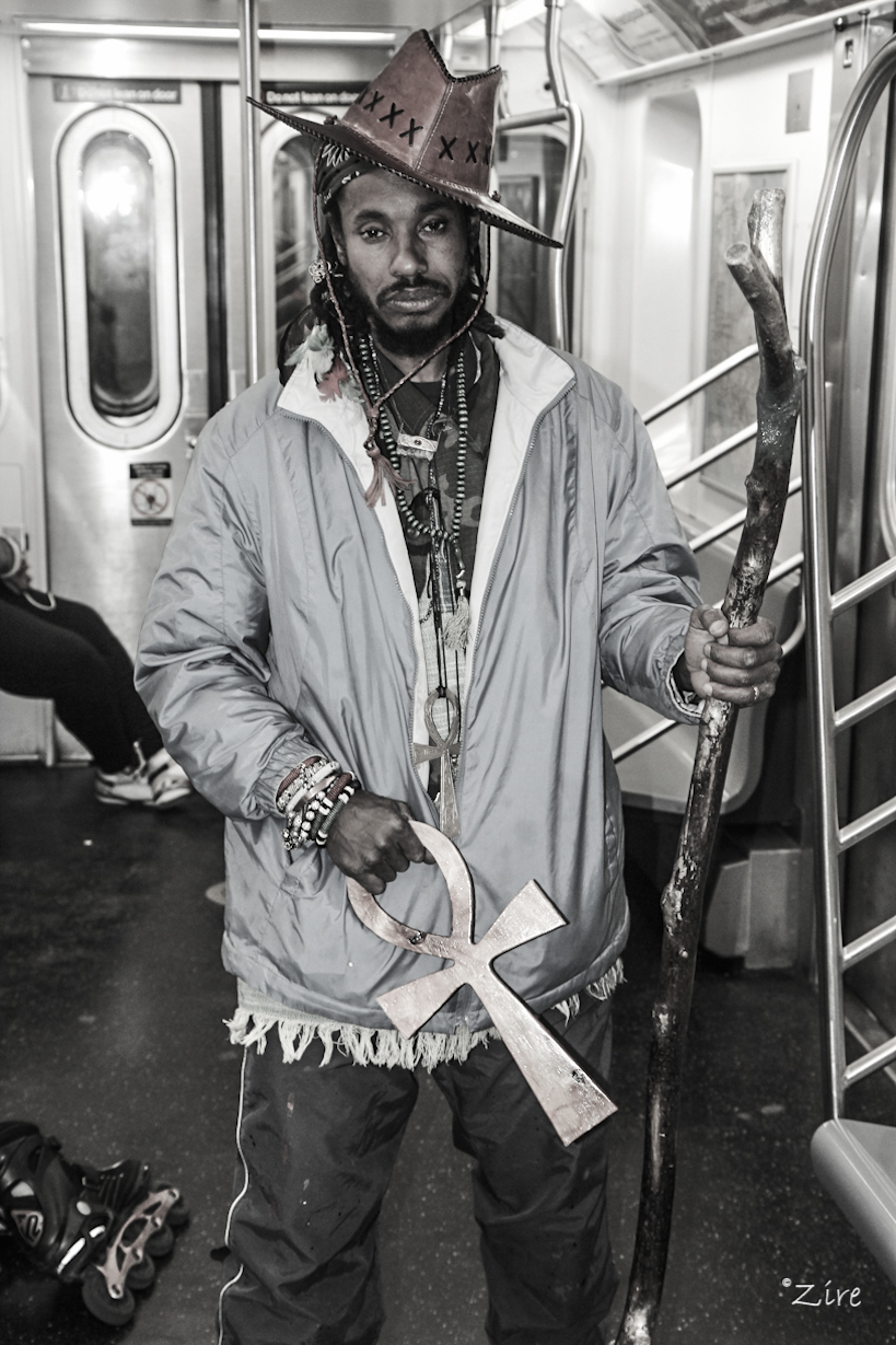 A Shaman on the (2) train.