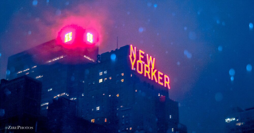 The Bright New Yorker Glowing On A Snowy NYC Night