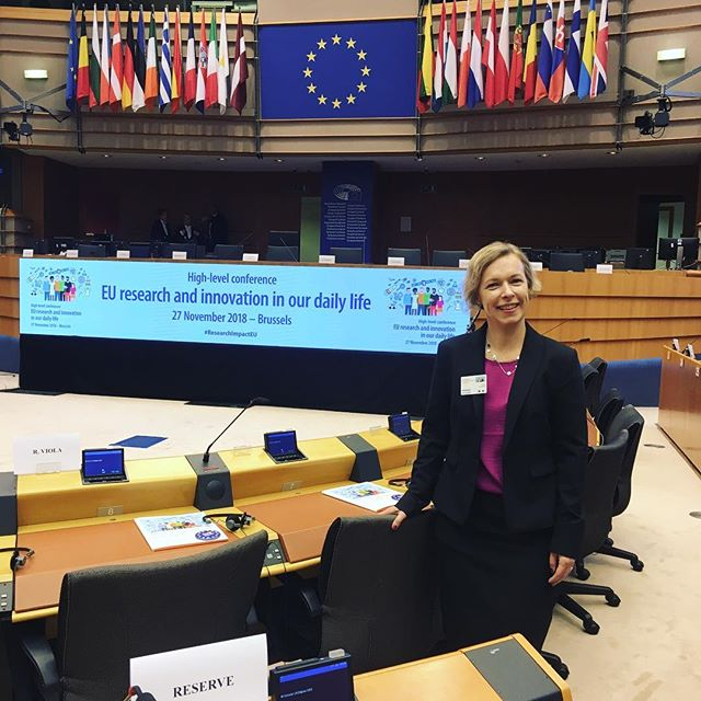 """Today, we have the great honor of presenting the Trash-2-Cash project at the EU Parliament in Brussels. Dr Emma Östmark from RISE is speaking at the conference: The impact of EU research and innovation on your daily life """"From medical advances to cleaner energy and high-level engineering, research projects funded by the European Union play a key role in improving our daily lives."""" .  #ResearchImpactEU #H2020 #T2C #Trash2Cash #textile #textileinnovation #recycle . .  Trash 2 Cash is a EU Horizon 2020 funded project. ."""