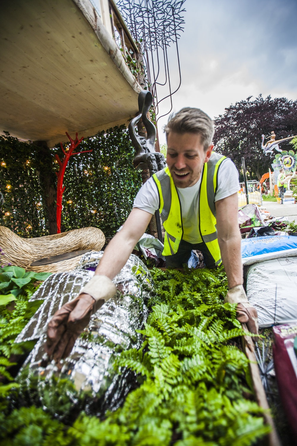 Oliver, rather atypically, getting his hands dirty at the Chelsea Flower Show.