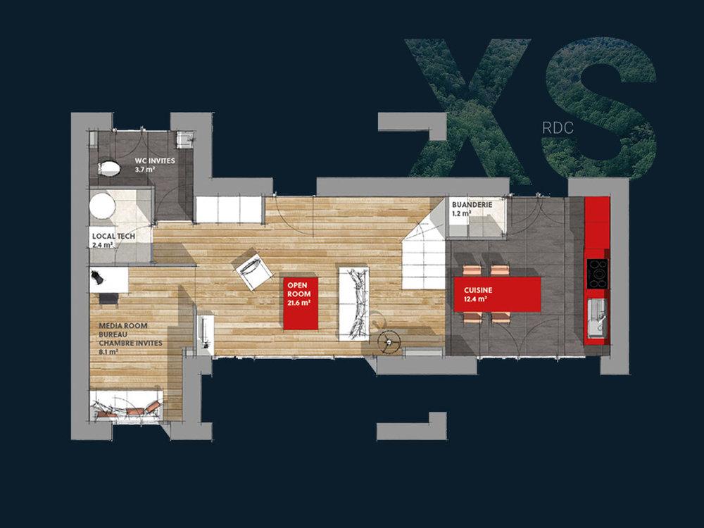 Plan de la Villa XS R+1 V1 (RDC)
