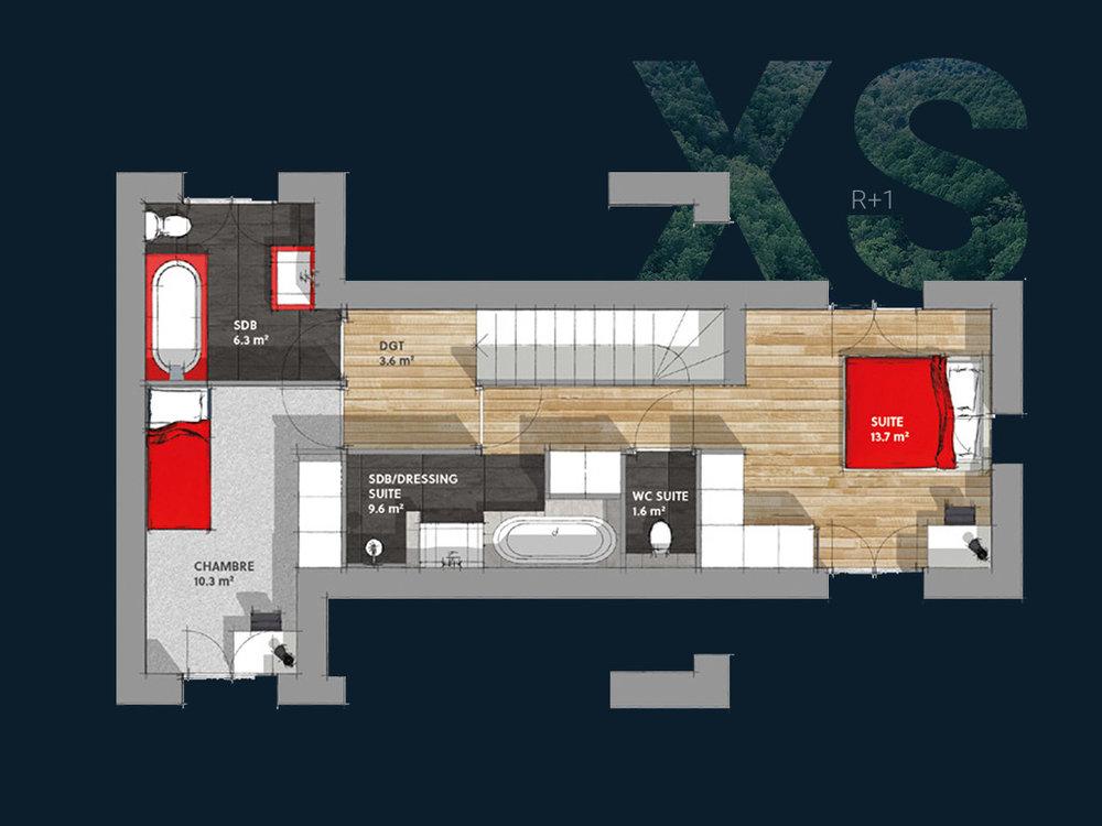 Plan de la Villa XS R+1 V1 (Étage)