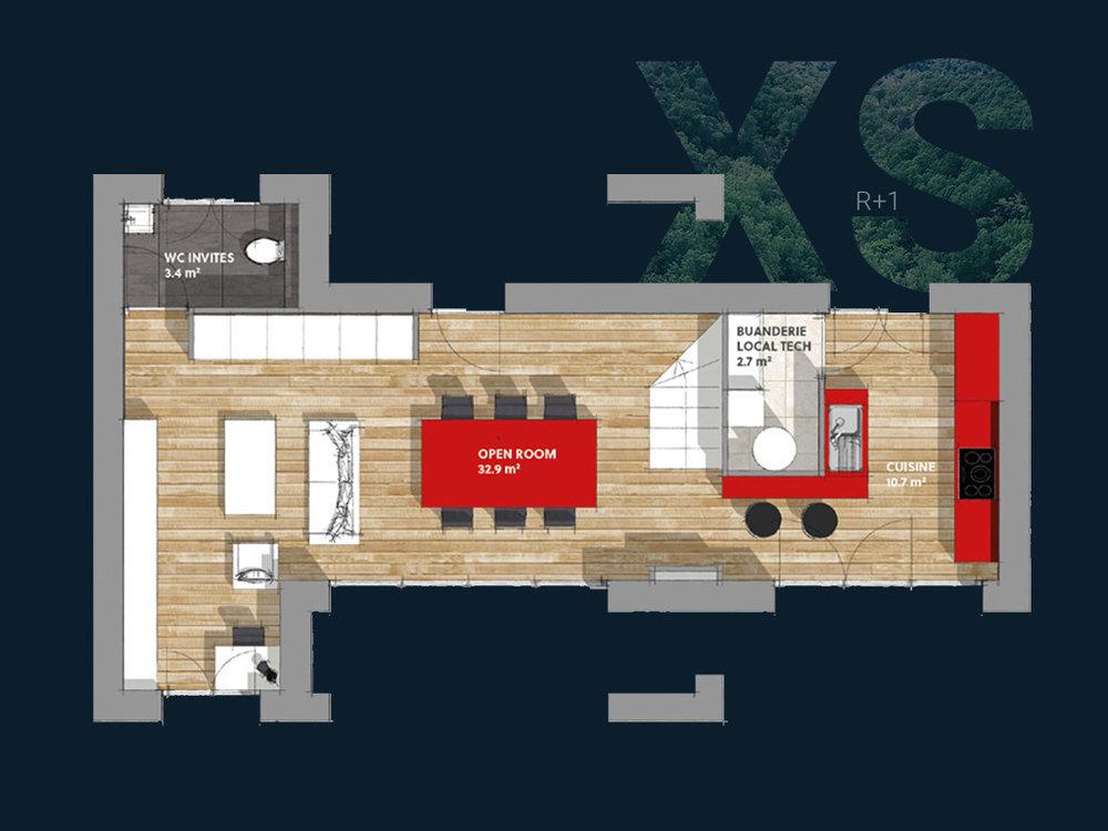 Plan de la Villa XS R+1 V2 (RDC)